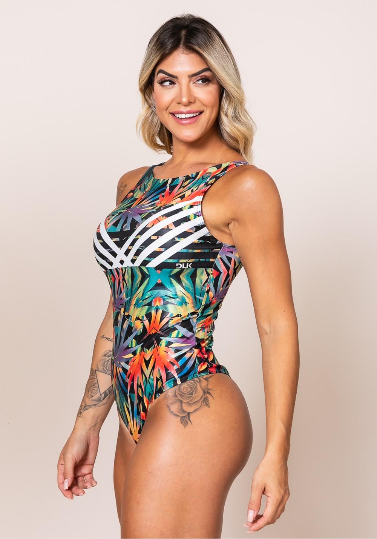 Body sem bojo printed cavado nas costas folhagem colorida