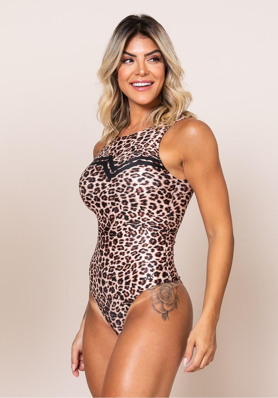 Body sem bojo printed cavado nas costas guepardo