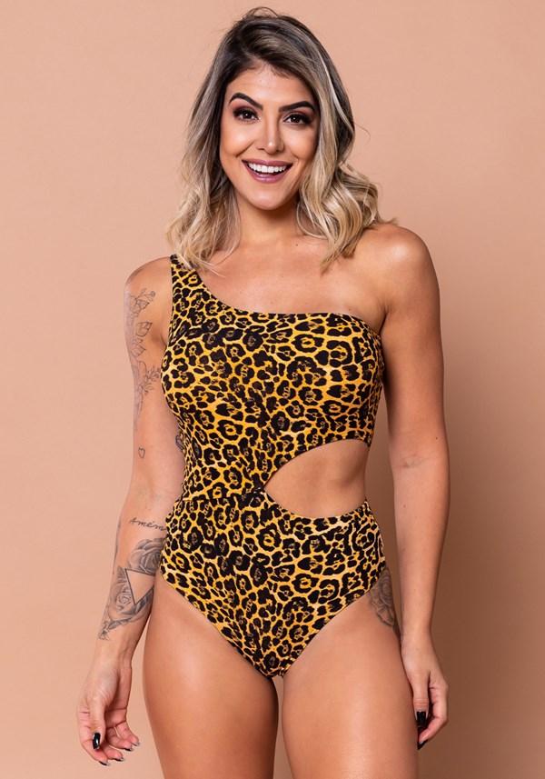 Body vazado lateral estampado leopardo