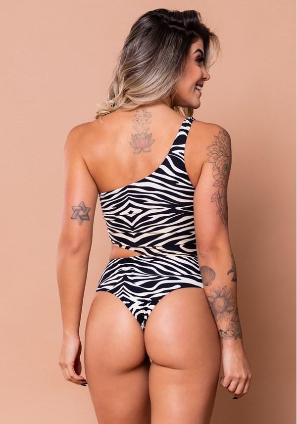 Body vazado lateral estampado zebra bege