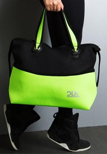 Bolsa fitness dlk preto com amarelo neon