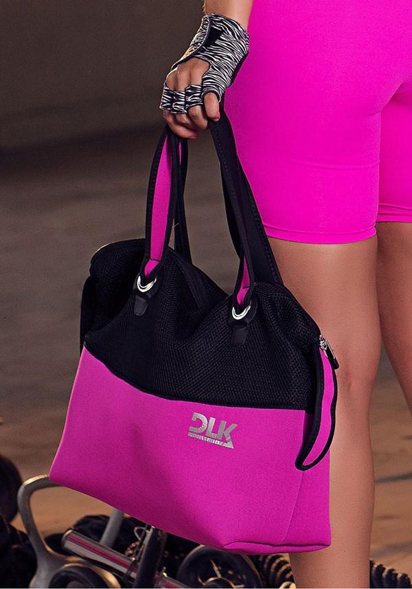 Bolsa fitness dlk preto com pink