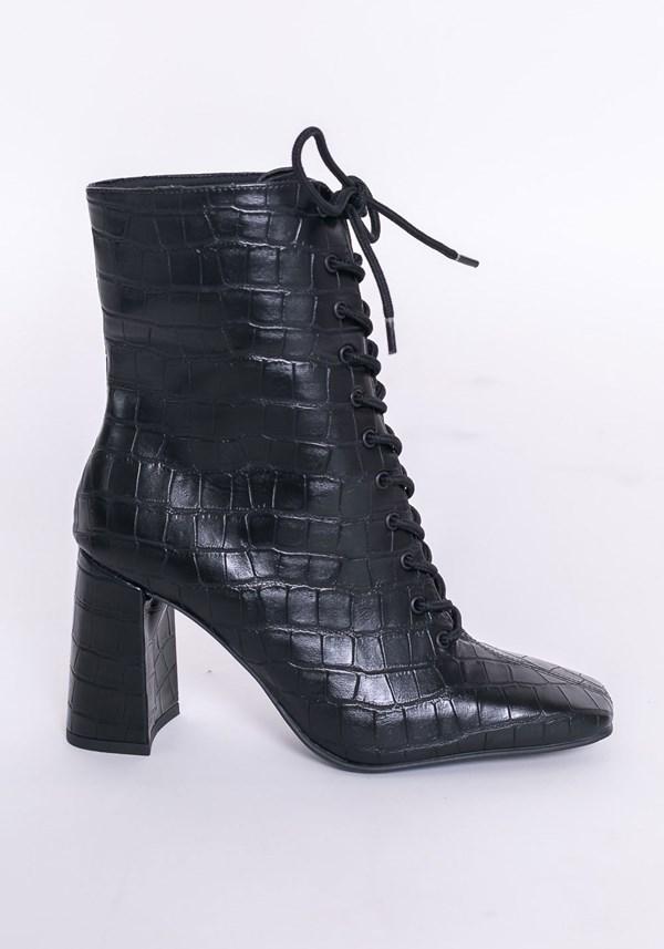 Bota ankle boot shoes texturizada preta