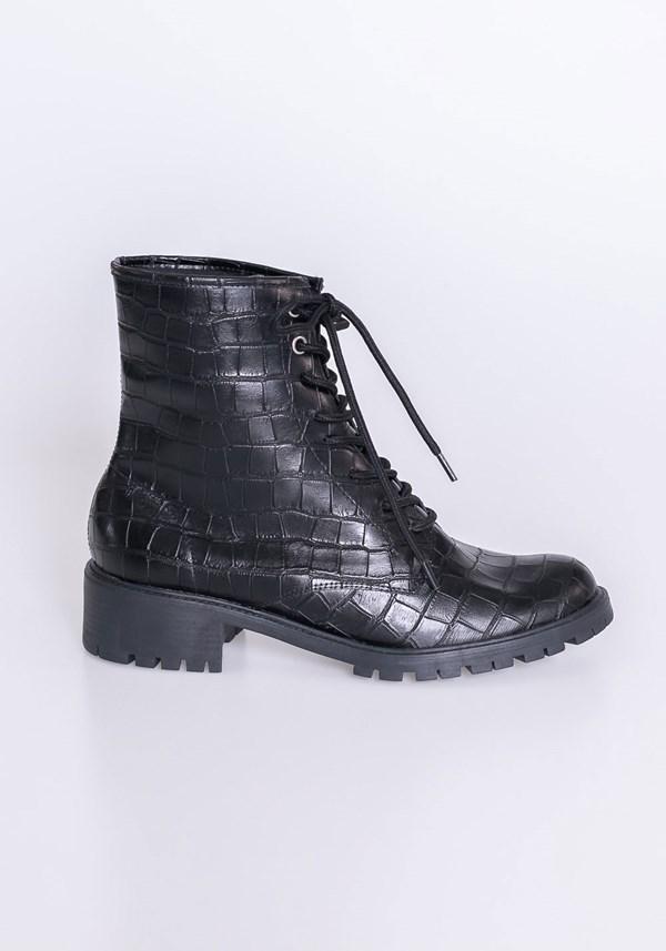 Bota cano curto shoes texturizada preta