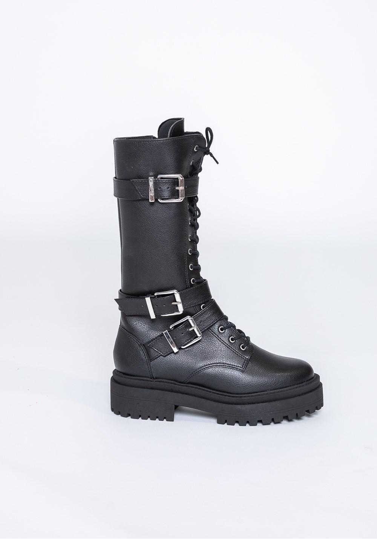 Bota cano médio shoes com fivela preta