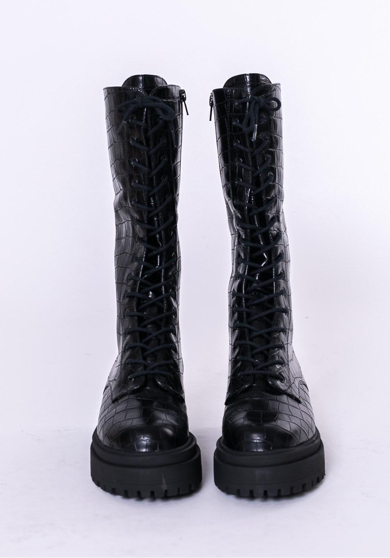 Bota cano médio shoes texturizada preta