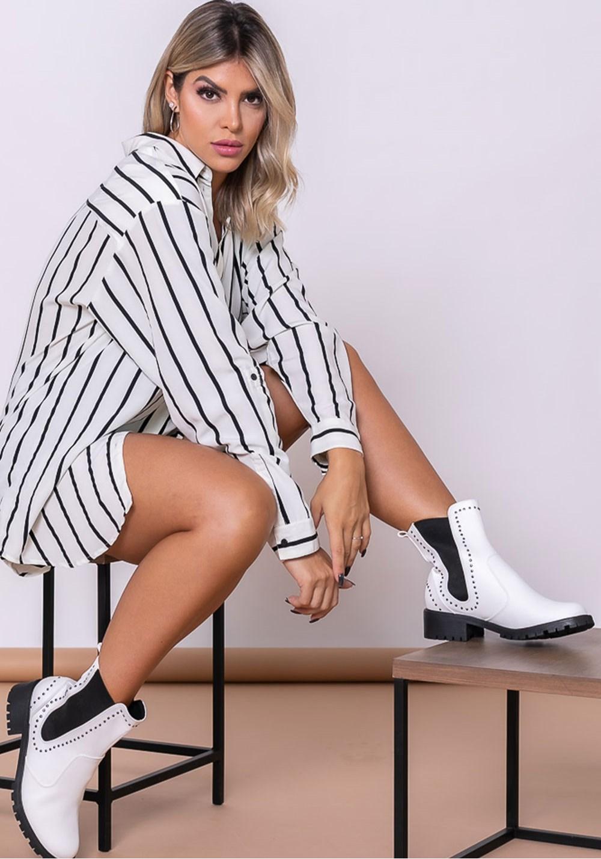 Bota modelo ankle boot shoes branca