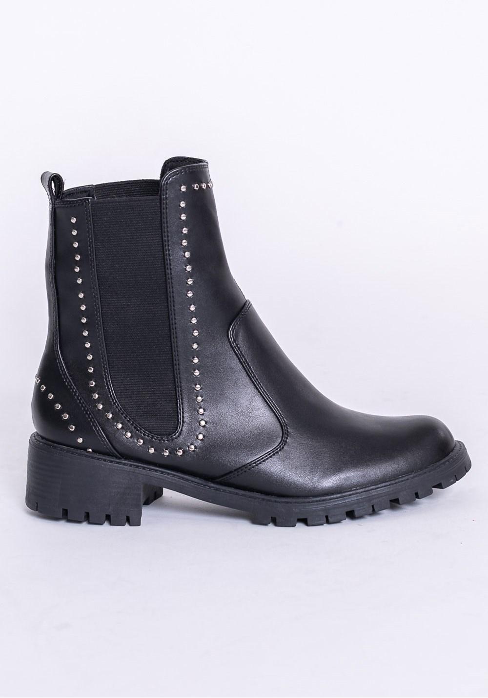 Bota modelo ankle boot shoes preta