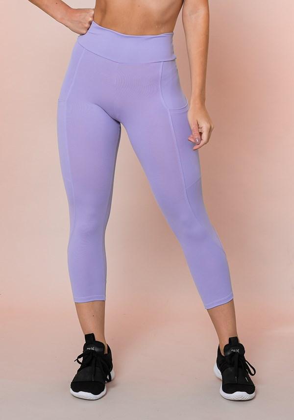 Calça corsário lilás com bolso básica