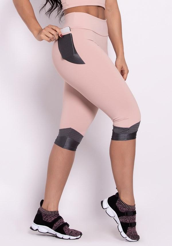 Calça corsário poliamida rosê com grafite e bolso style