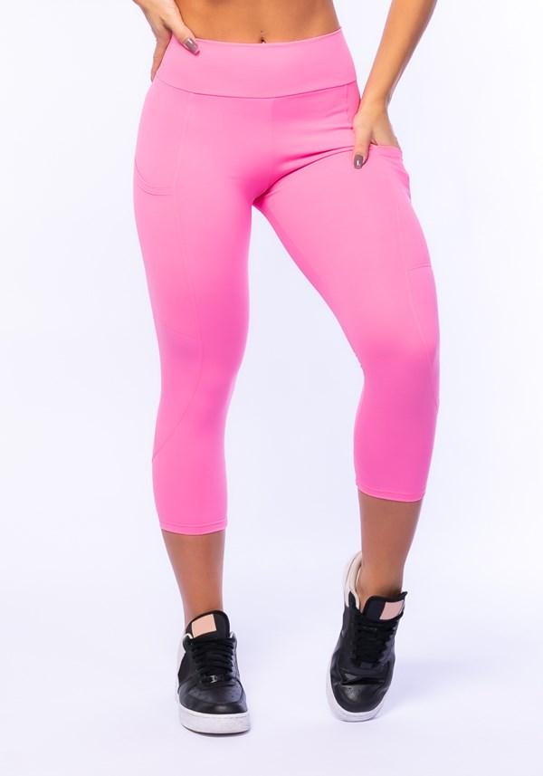Calça corsário rosa chiclete com bolso básica