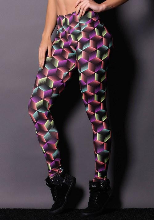 Calça cubes purple estampada