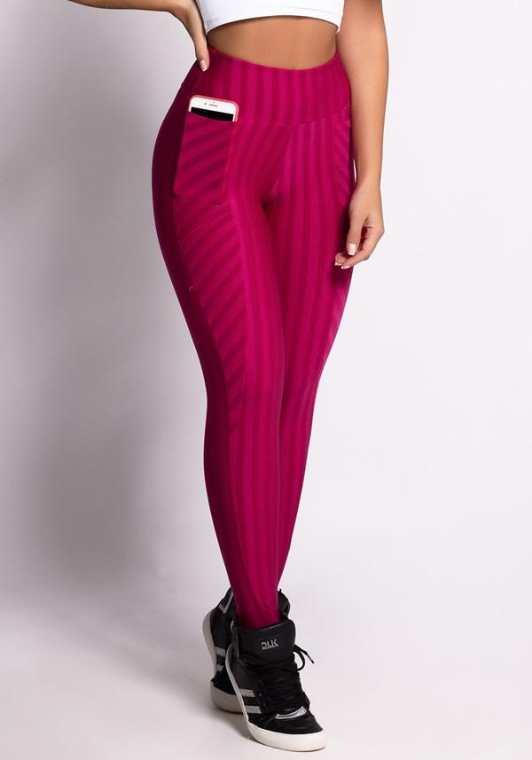 Calça legging alto relevo cereja com bolso