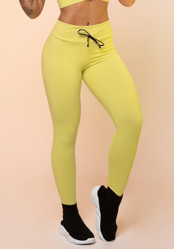 Calça legging amarelo com cadarço básica