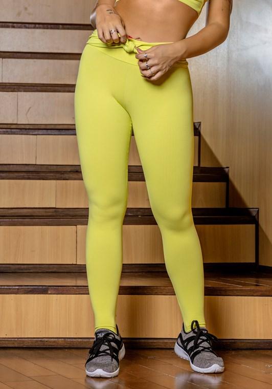 Calça legging amarelo nó frontal básica