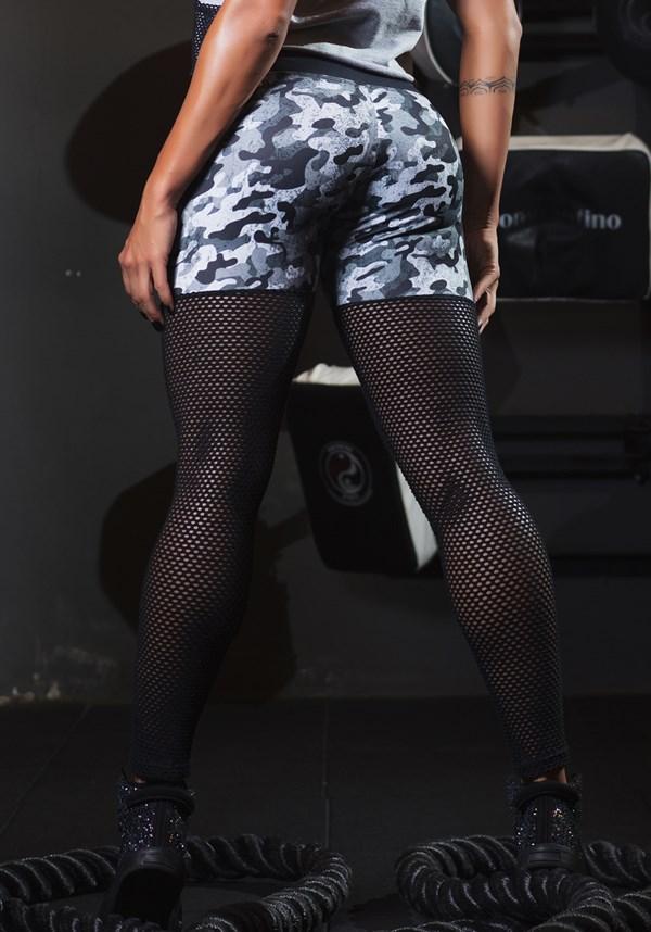 Calça legging army estampada com tela