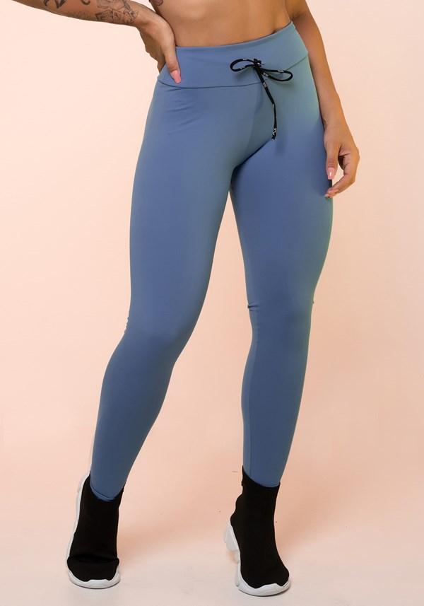 Calça legging azul com cadarço básica