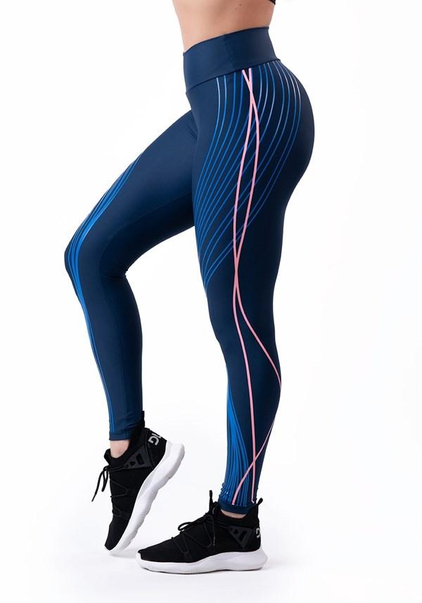 Calça legging azul com silk rosê