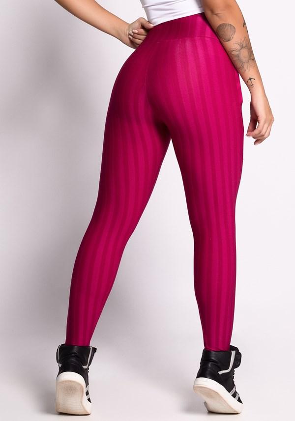 Calça legging bordo shine stripes com bolso