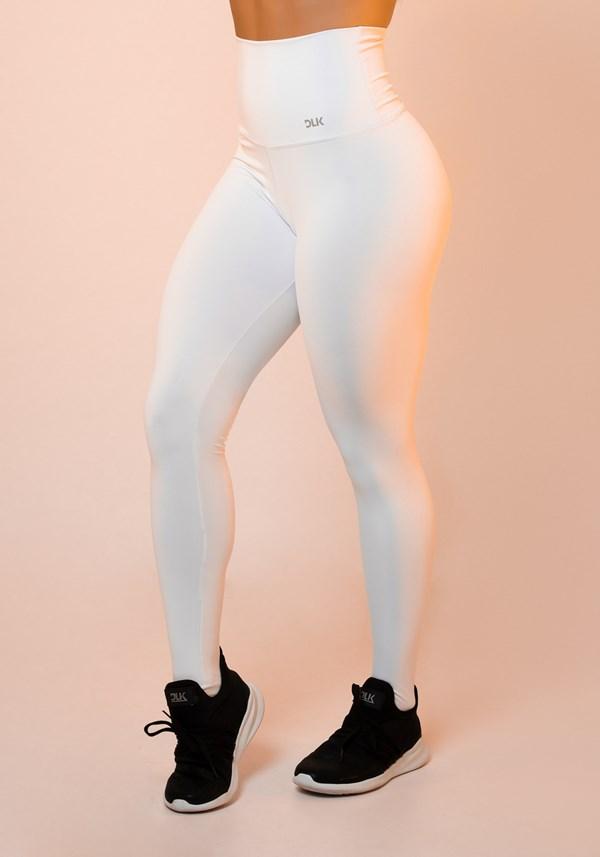 Calça legging branca cintura alta básica