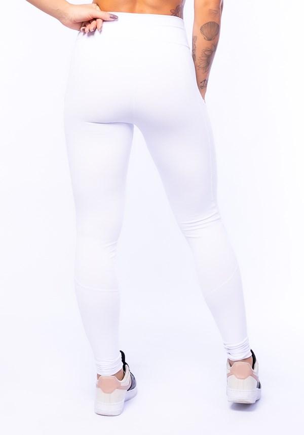 Calça legging branca com bolso básica