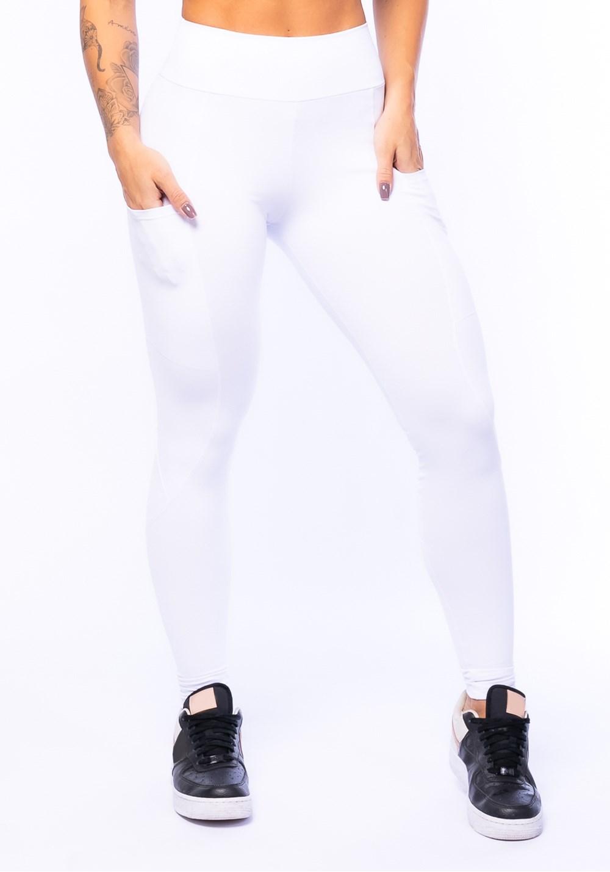 8cf4f4856 Calça legging branca com bolso básica - DlkModas