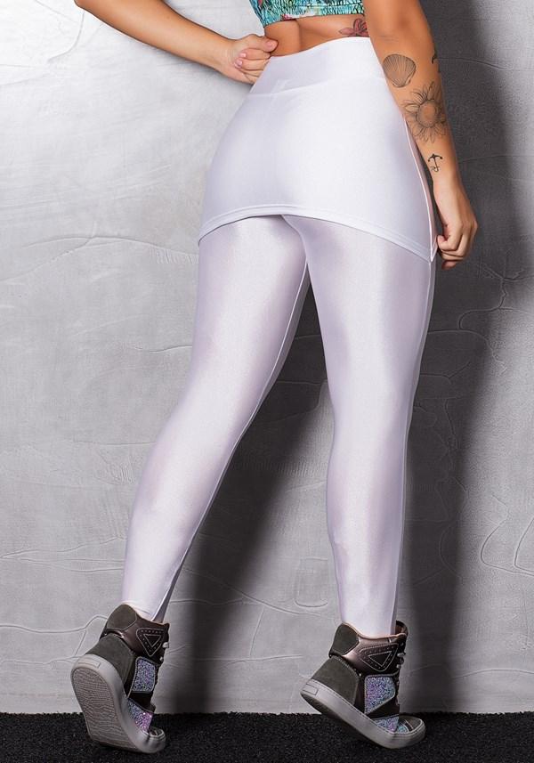 Calça legging branca com brilho e tapa bumbum