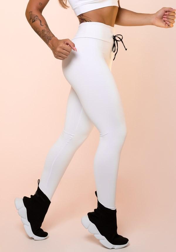 Calça legging branca com cadarço básica