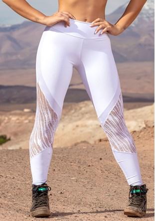 Produto Calça legging branca com detalhes em cirrê e renda