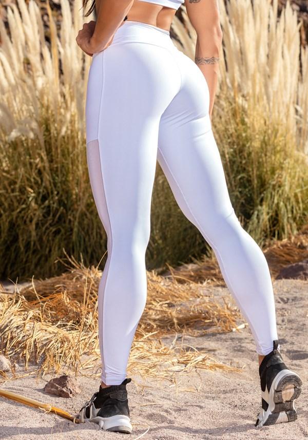 Calça legging branca com detalhes em tule e alto relevo holográfico