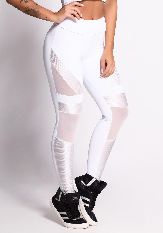 00f67453f4 Calça legging branca com detalhes em tule e tela shine - DlkModas