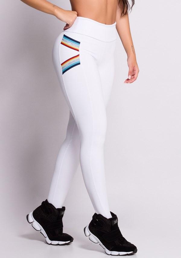 Calça legging branca com elástico colorido
