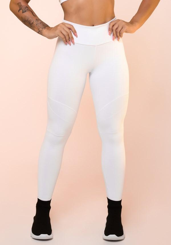 Calça legging branca com recortes básica
