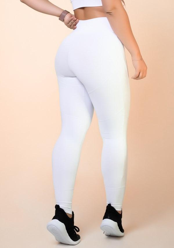 Calça legging branca com recortes levanta bumbum básica