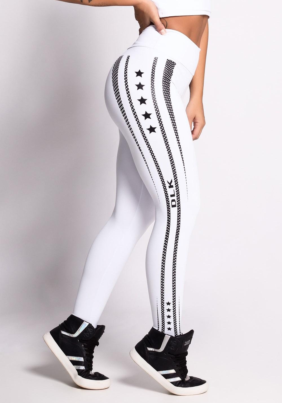 Calça legging branca com silk preto dlk