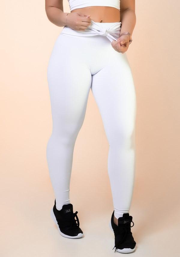 Calça legging branca nó frontal básica