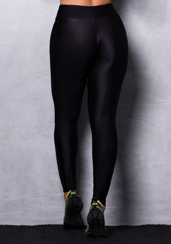 Calça legging brilho beach preta com tela