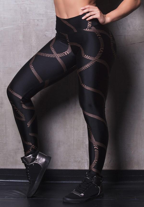 Calça legging brilho black chains