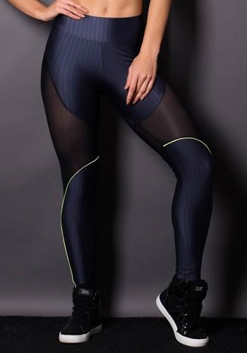 Calça legging brilho cinza escuro com neon e tela