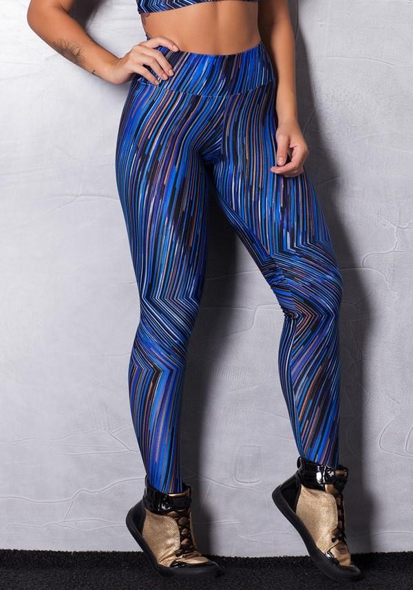 Calça legging brilho cirrê estampada blue & silver lines