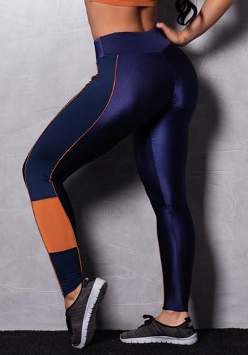 Calça legging brilho oceanic blue & orange