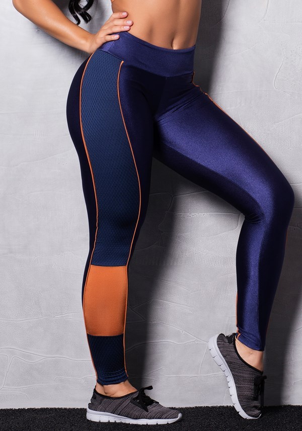 Calça legging brilho oceanic blue & orange