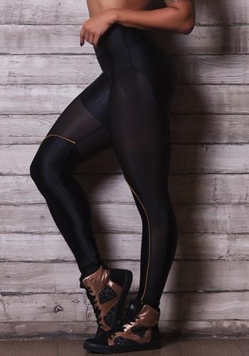 Calça legging brilho preta com tela e detalhe dourado