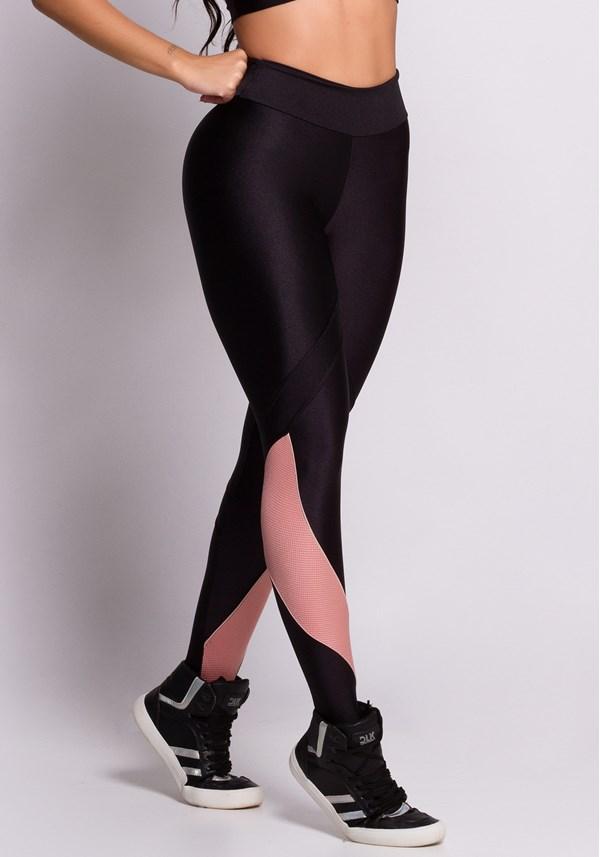 Calça legging brilho preta detalhe texturizado rosê
