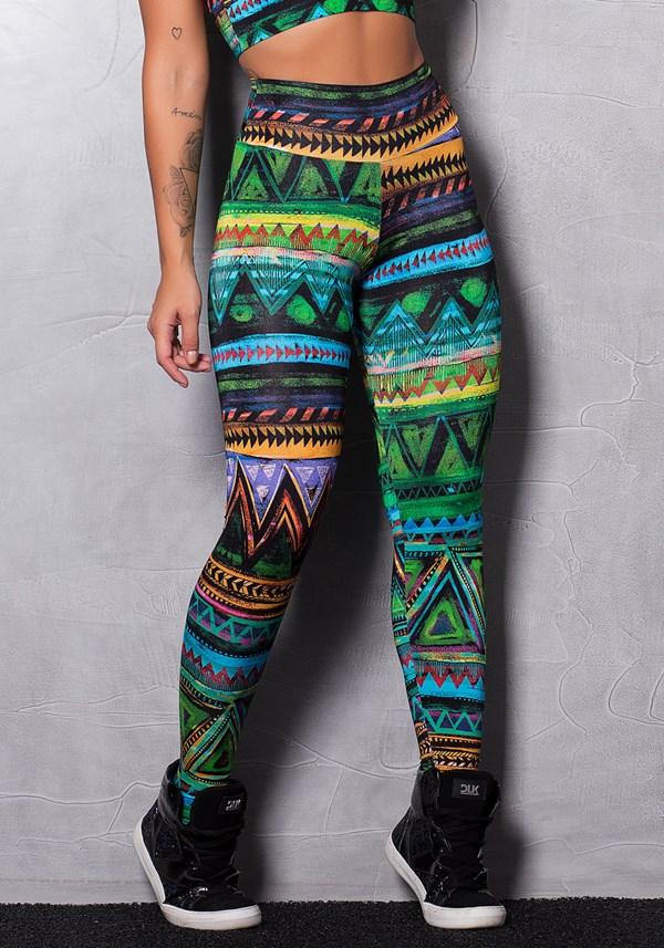 Calça legging brilho tribe colors