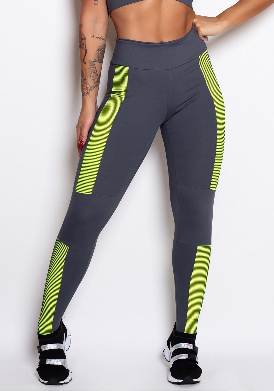 Calça legging cinza 3d neon