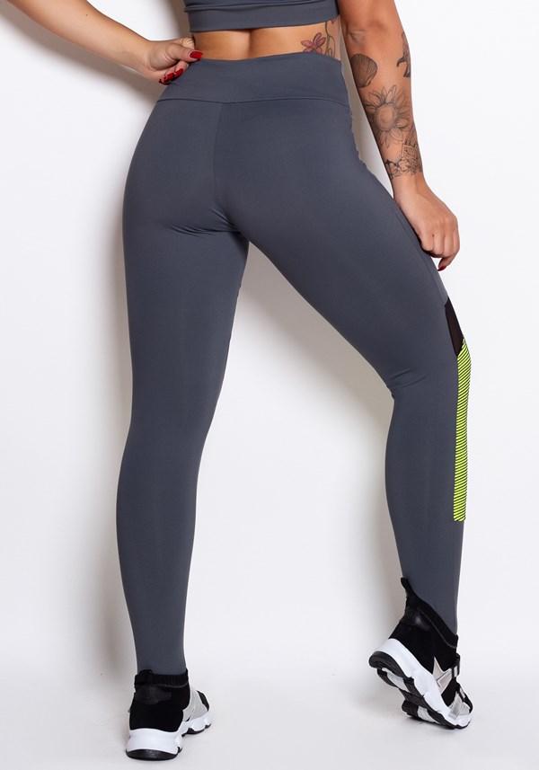 Calça legging cinza 3d neon com tule