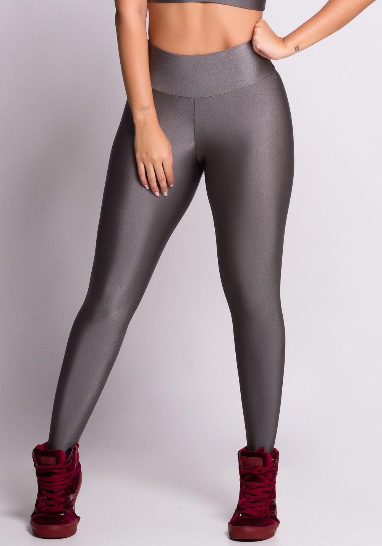 Calça legging cinza metal