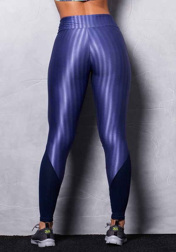 Calça legging cirrê alto relevo azul marinho
