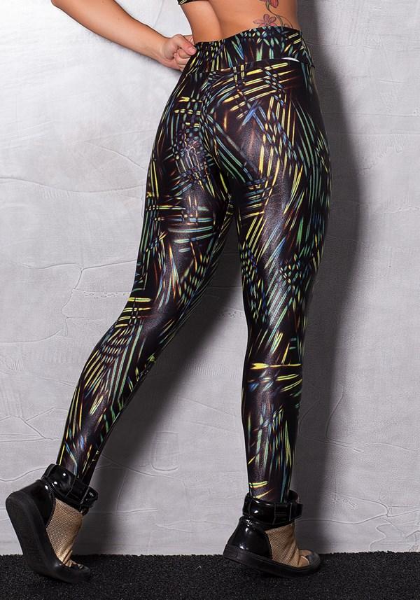 Calça legging cirrê estampada black & neon stripes